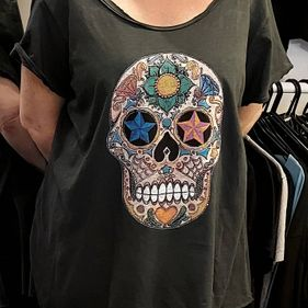Oversized Sequin Skull Top