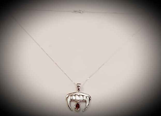 Vampire Teeth With Blood Drops Pendant (Sterling Silver) with 18'' 925 silver chain.