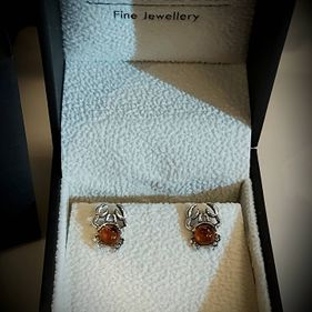 STERLING SILVER AMBER CRAB STUD EARRINGS