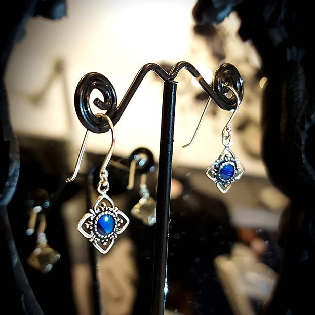 925 sterling silver and dark blue abalone earrings.